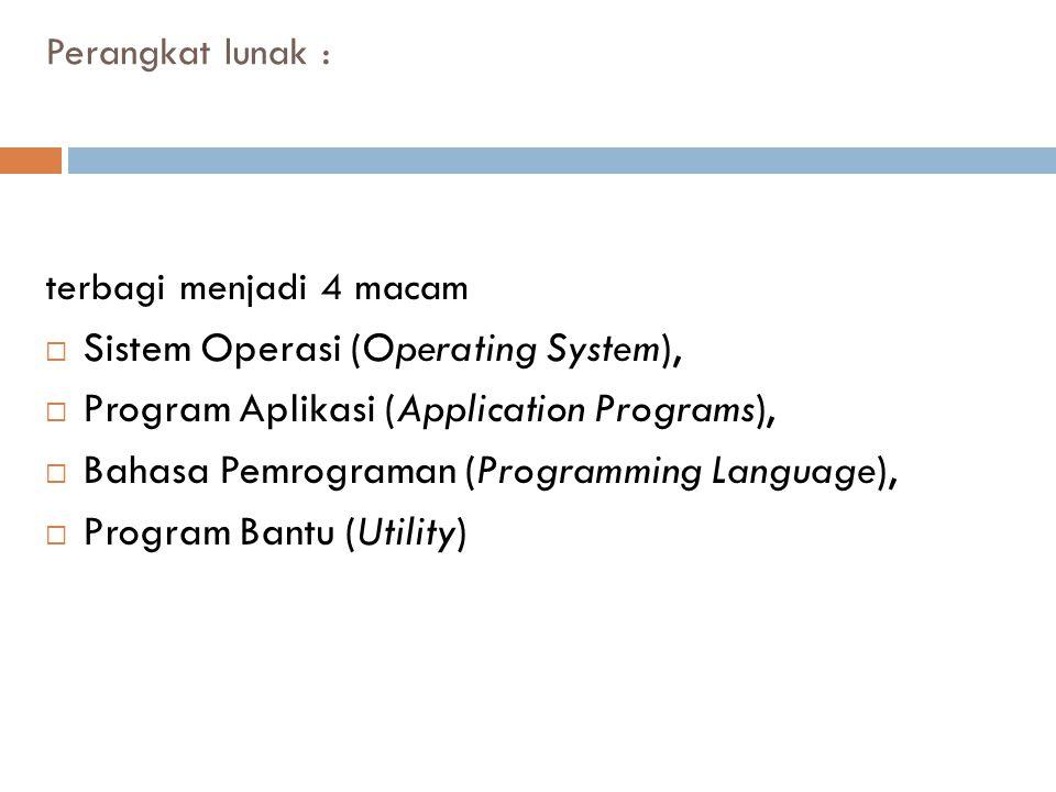 Perangkat lunak : terbagi menjadi 4 macam  Sistem Operasi (Operating System),  Program Aplikasi (Application Programs),  Bahasa Pemrograman (Progra