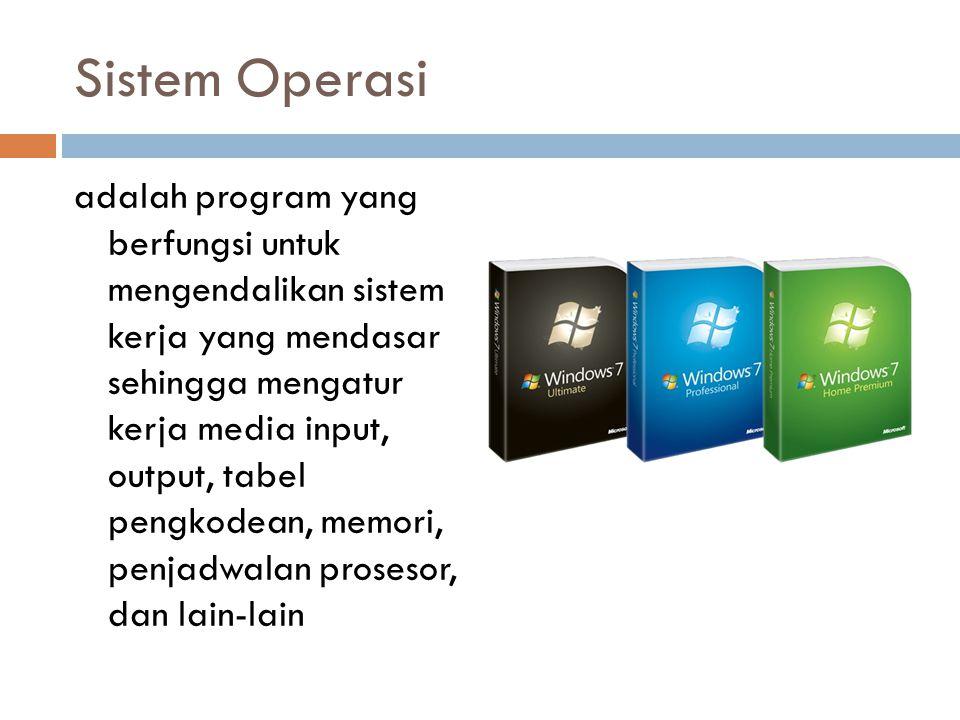 Sistem Operasi adalah program yang berfungsi untuk mengendalikan sistem kerja yang mendasar sehingga mengatur kerja media input, output, tabel pengkod