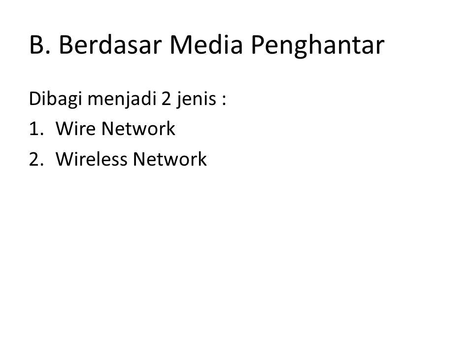 B. Berdasar Media Penghantar Dibagi menjadi 2 jenis : 1.Wire Network 2.Wireless Network