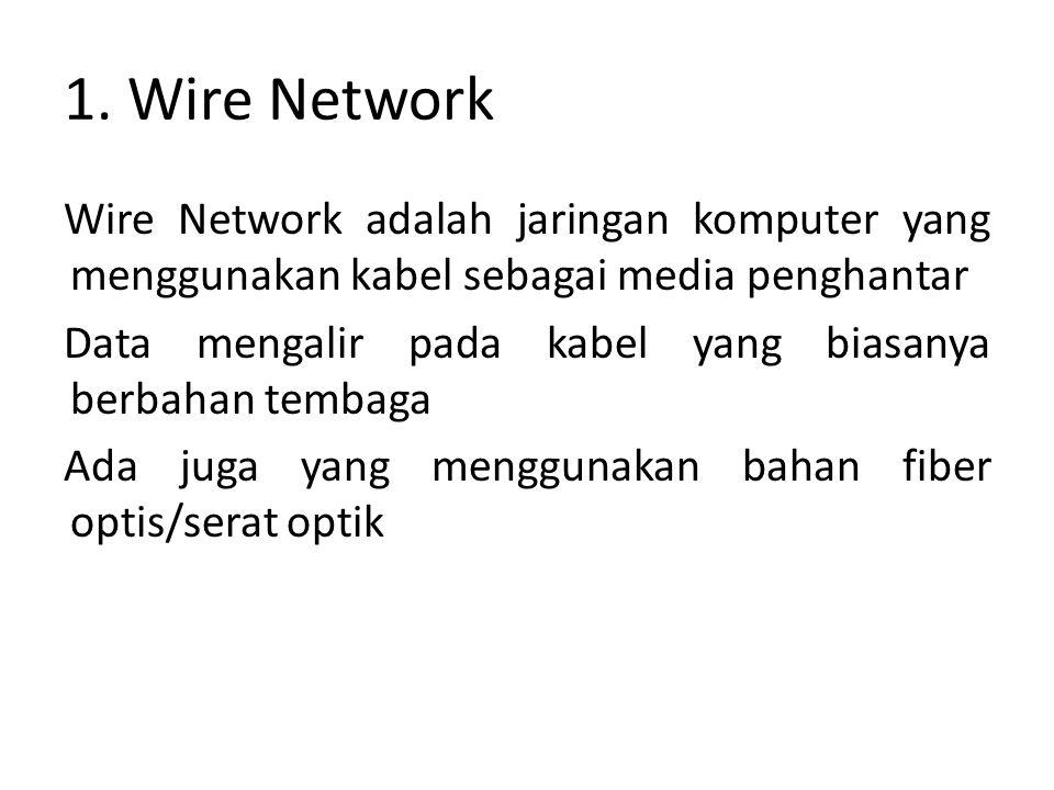 1. Wire Network Wire Network adalah jaringan komputer yang menggunakan kabel sebagai media penghantar Data mengalir pada kabel yang biasanya berbahan