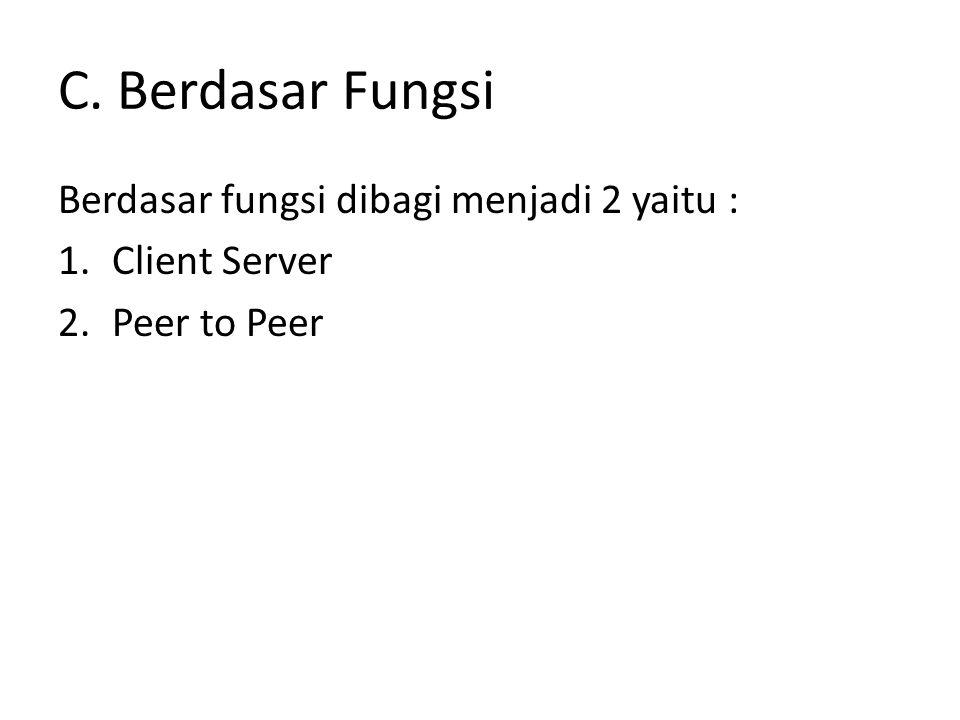 C. Berdasar Fungsi Berdasar fungsi dibagi menjadi 2 yaitu : 1.Client Server 2.Peer to Peer