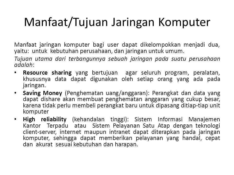 Manfaat/Tujuan Jaringan Komputer Manfaat jaringan komputer bagi user dapat dikelompokkan menjadi dua, yaitu: untuk kebutuhan perusahaan, dan jaringan untuk umum.