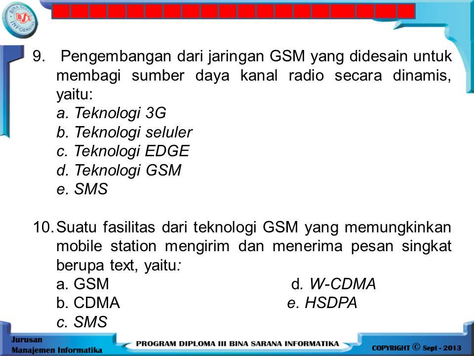 8.Arsitektur GPRS yang digunakan untuk mengakses radio interface seperti modem radio, yaitu: a. MT d. PCU b. SGSN e. SMS c. GGSN 9.Pengembangan dari j
