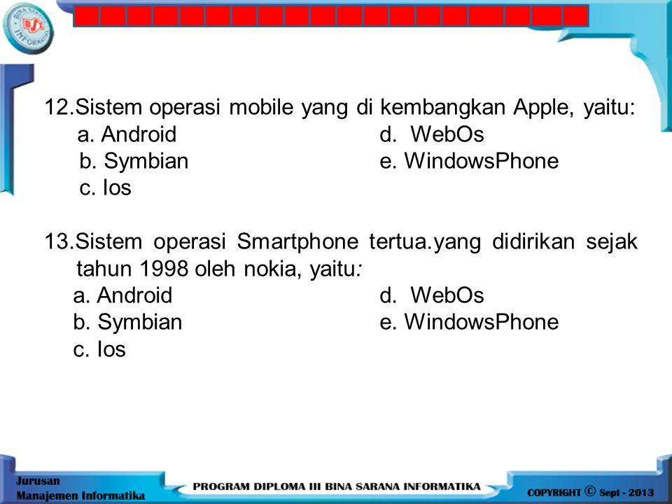 11.Sebuah sistem operasi mobile seperti android dikembangkan oleh: a. Microsoftd. Apple b. Palm e. Google c. Samsung 12.Sistem operasi mobile yang di