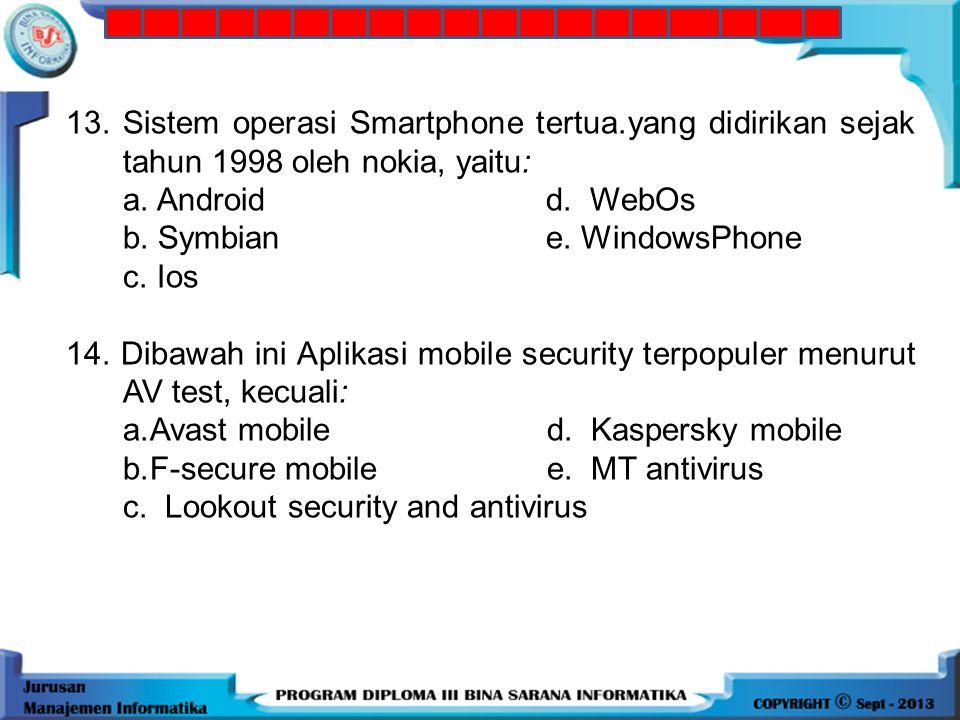 12.Sistem operasi mobile yang di kembangkan Apple, yaitu: a. Androidd. WebOs b. Symbian e. WindowsPhone c. Ios 13.Sistem operasi Smartphone tertua.yan