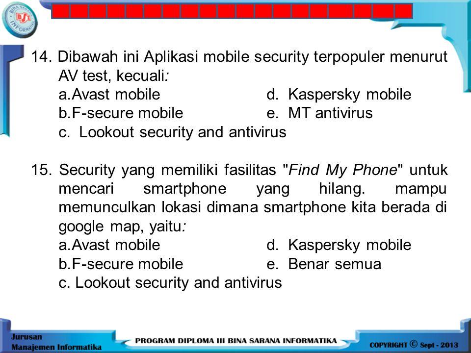 13. Sistem operasi Smartphone tertua.yang didirikan sejak tahun 1998 oleh nokia, yaitu: a. Androidd. WebOs b. Symbian e. WindowsPhone c. Ios 14. Dibaw