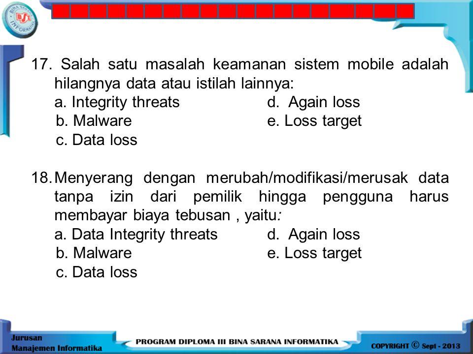 16.Trojan horse program, menyerang sistem mobile merupakan jenis serangan: a. Resource abused. Web-based b. Data loss e. Malware c. Social engineering