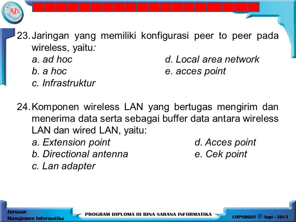22. Teknologi wireless yang cocok untuk area indoor, yaitu: a. WiMax d. GPRS b. LAN e. UMB c. Wifi 23.Jaringan yang memiliki konfigurasi peer to peer