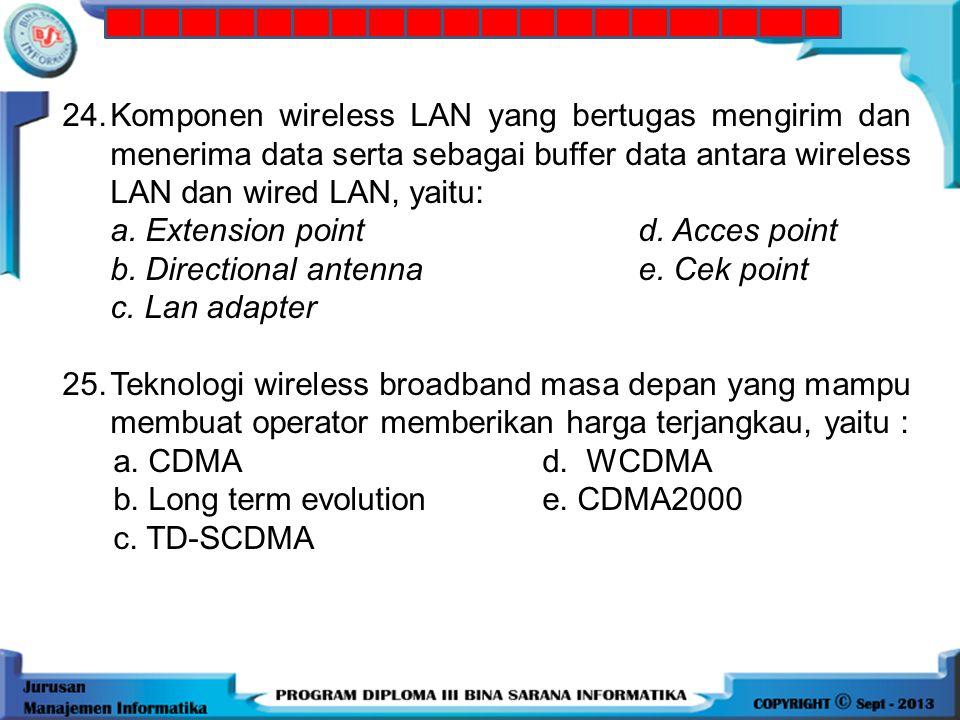 23.Jaringan yang memiliki konfigurasi peer to peer pada wireless, yaitu: a. ad hoc d. Local area network b. a hoc e. acces point c. Infrastruktur 24.K