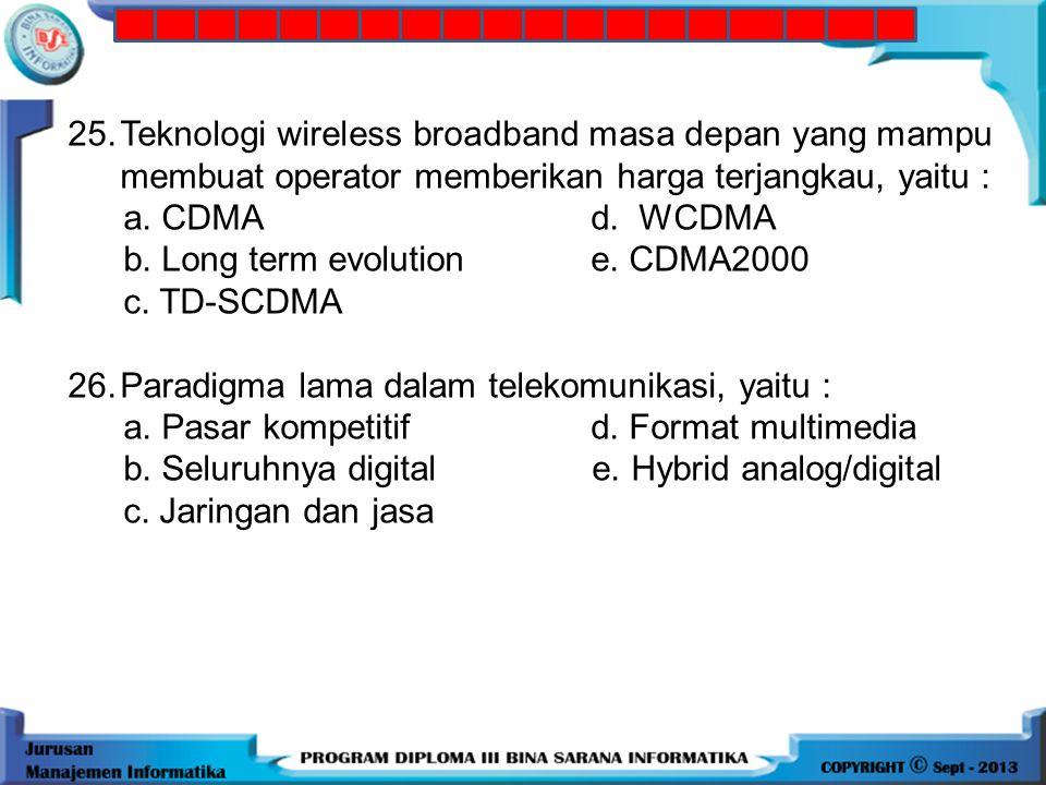 24.Komponen wireless LAN yang bertugas mengirim dan menerima data serta sebagai buffer data antara wireless LAN dan wired LAN, yaitu: a. Extension poi