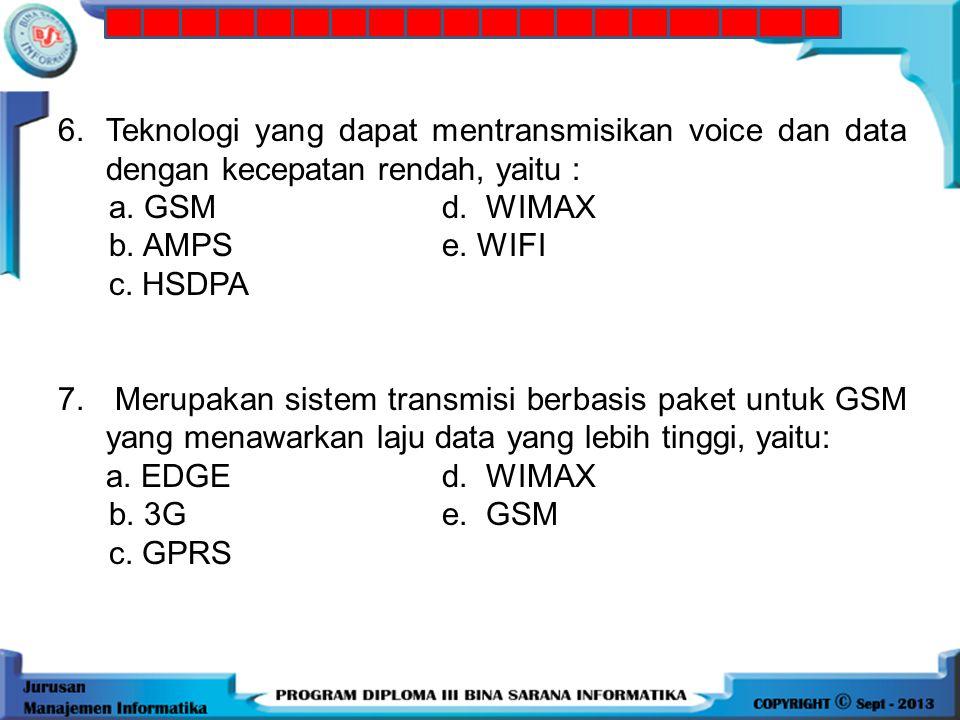 5.Teknologi yang digunakan 3G, yaitu : a. CDMAd. Packet optimal node b. Circuited switched nodese. FDMA c. HSDPA 6.Teknologi yang dapat mentransmisika