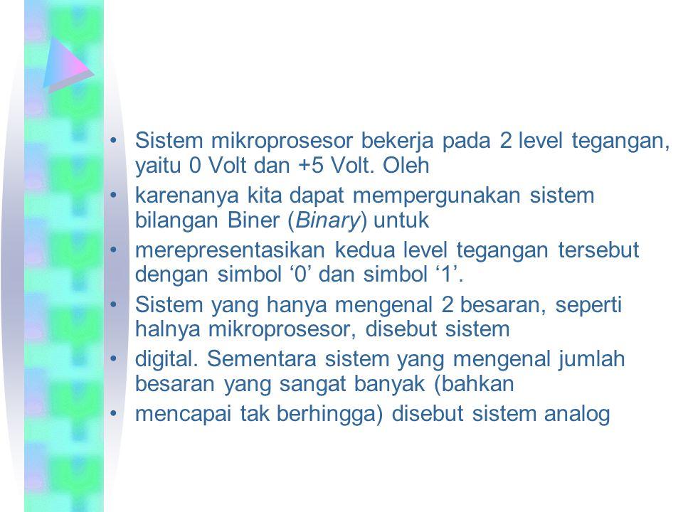 Sistem mikroprosesor bekerja pada 2 level tegangan, yaitu 0 Volt dan +5 Volt.