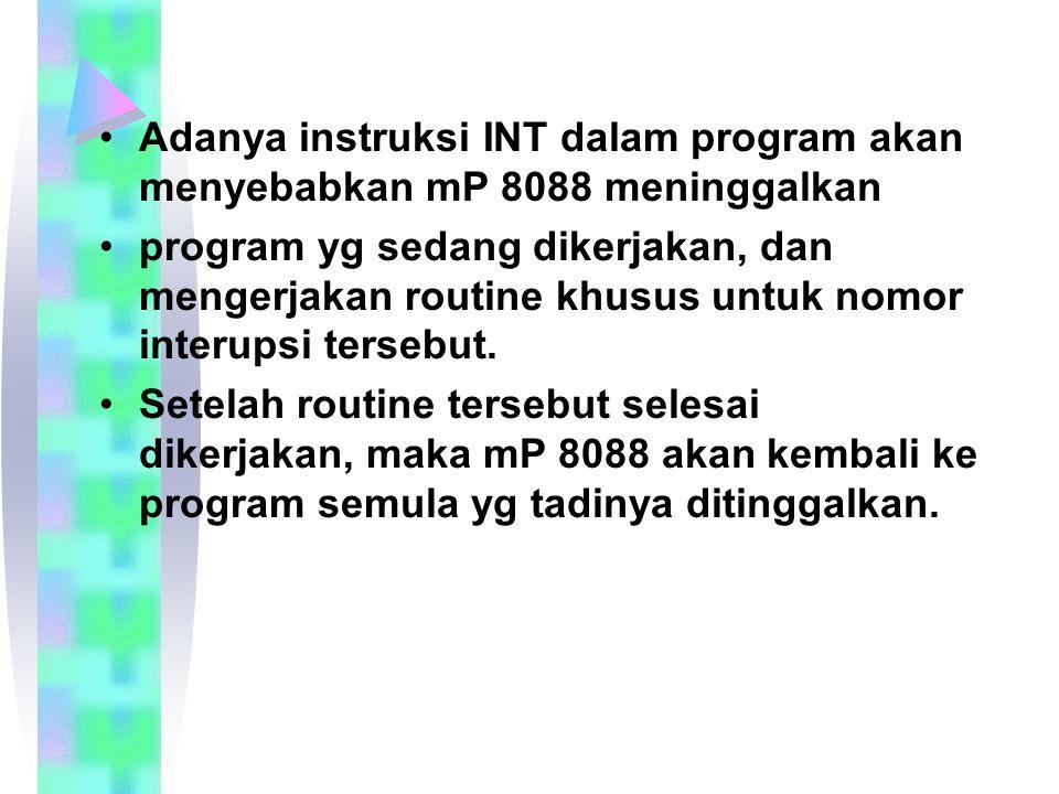 Adanya instruksi INT dalam program akan menyebabkan mP 8088 meninggalkan program yg sedang dikerjakan, dan mengerjakan routine khusus untuk nomor interupsi tersebut.