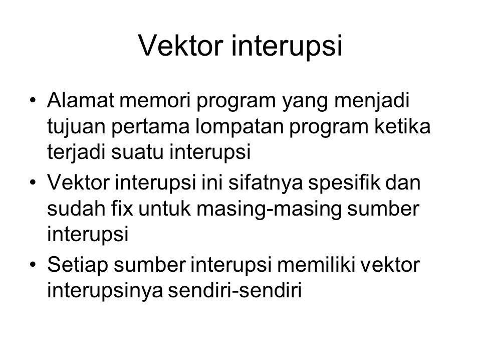 Vektor interupsi Alamat memori program yang menjadi tujuan pertama lompatan program ketika terjadi suatu interupsi Vektor interupsi ini sifatnya spesi