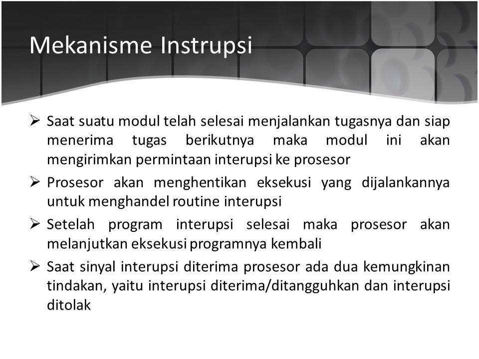 Mekanisme Instrupsi  Saat suatu modul telah selesai menjalankan tugasnya dan siap menerima tugas berikutnya maka modul ini akan mengirimkan permintaa