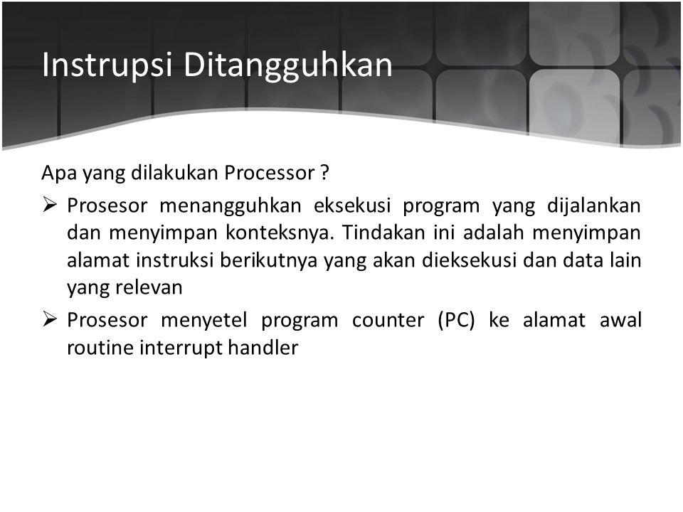 Instrupsi Ditangguhkan Apa yang dilakukan Processor ?  Prosesor menangguhkan eksekusi program yang dijalankan dan menyimpan konteksnya. Tindakan ini
