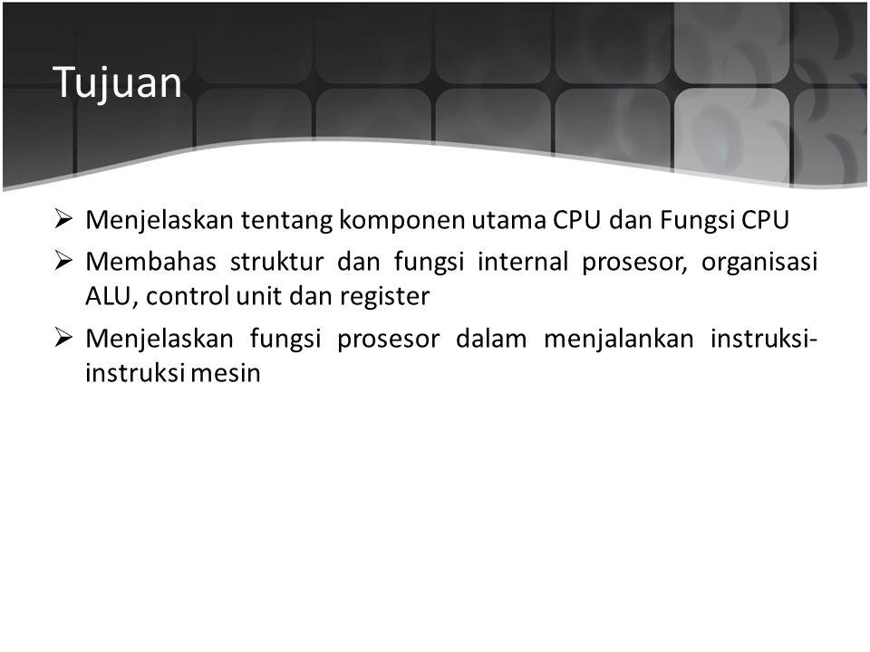 Tujuan  Menjelaskan tentang komponen utama CPU dan Fungsi CPU  Membahas struktur dan fungsi internal prosesor, organisasi ALU, control unit dan regi