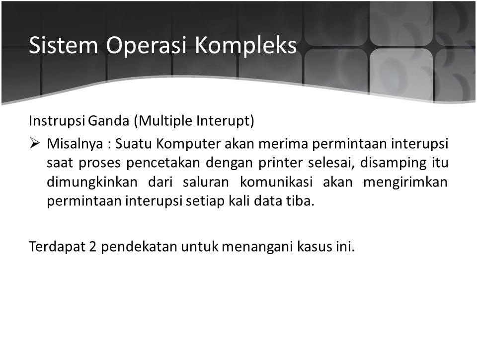 Sistem Operasi Kompleks Instrupsi Ganda (Multiple Interupt)  Misalnya : Suatu Komputer akan merima permintaan interupsi saat proses pencetakan dengan