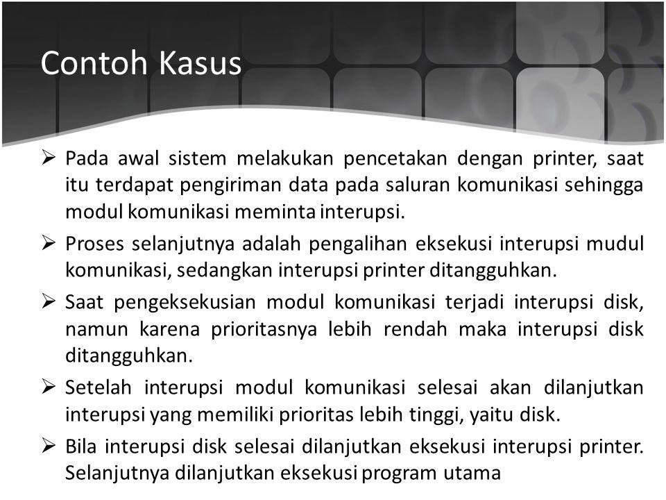 Contoh Kasus  Pada awal sistem melakukan pencetakan dengan printer, saat itu terdapat pengiriman data pada saluran komunikasi sehingga modul komunika