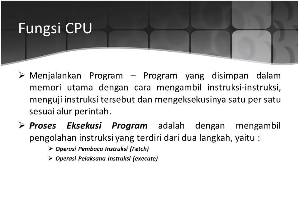 Fungsi CPU  Menjalankan Program – Program yang disimpan dalam memori utama dengan cara mengambil instruksi-instruksi, menguji instruksi tersebut dan
