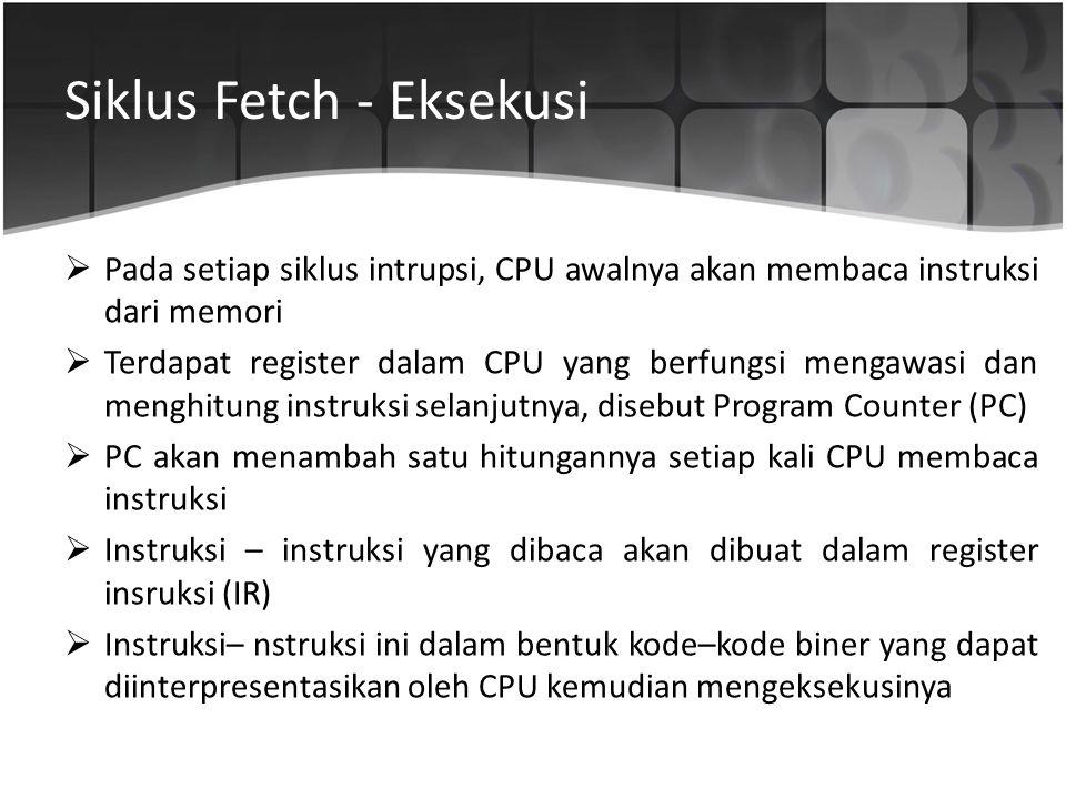 Siklus Fetch - Eksekusi  Pada setiap siklus intrupsi, CPU awalnya akan membaca instruksi dari memori  Terdapat register dalam CPU yang berfungsi men