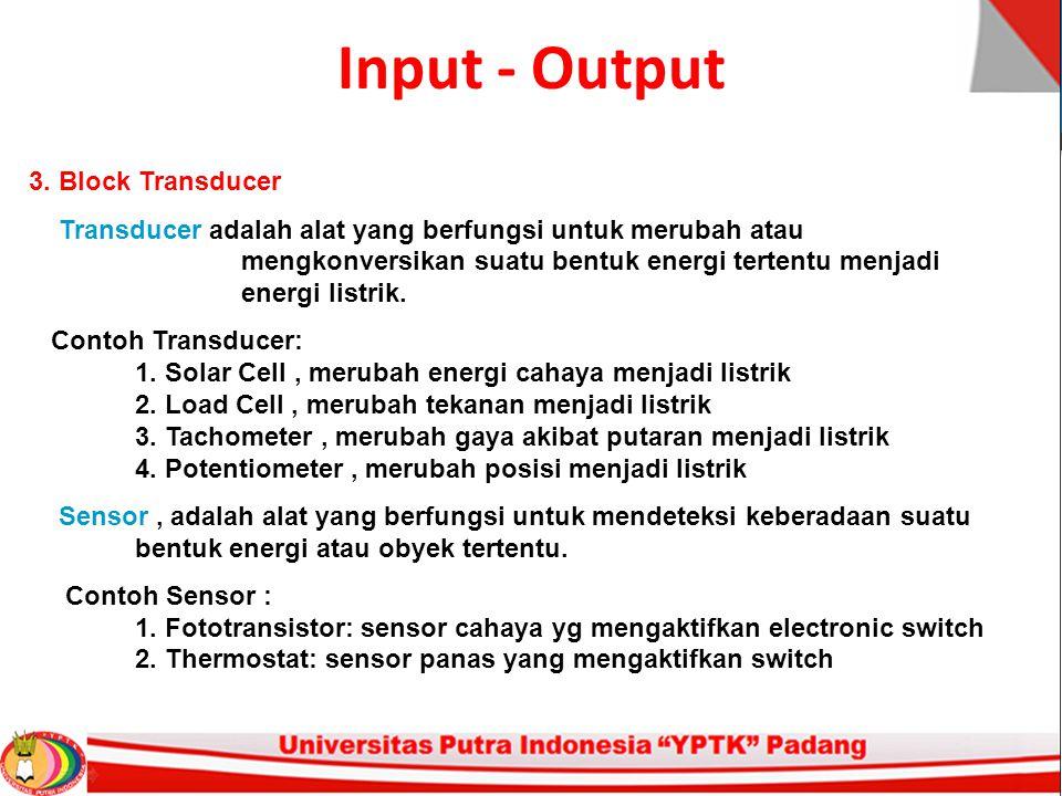 Input - Output 3. Block Transducer Transducer adalah alat yang berfungsi untuk merubah atau mengkonversikan suatu bentuk energi tertentu menjadi energ