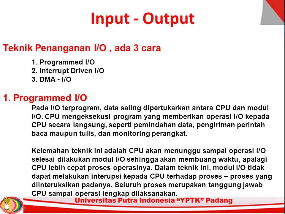 Input - Output Teknik Penanganan I/O, ada 3 cara 1. Programmed I/O 2. Interrupt Driven I/O 3. DMA - I/O 1. Programmed I/O Pada I/O terprogram, data sa