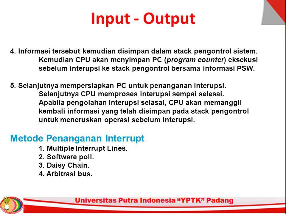Input - Output 4. Informasi tersebut kemudian disimpan dalam stack pengontrol sistem. Kemudian CPU akan menyimpan PC (program counter) eksekusi sebelu