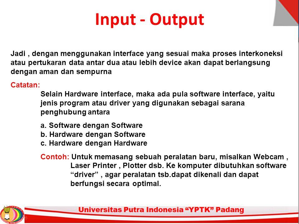 Input - Output Jadi, dengan menggunakan interface yang sesuai maka proses interkoneksi atau pertukaran data antar dua atau lebih device akan dapat ber