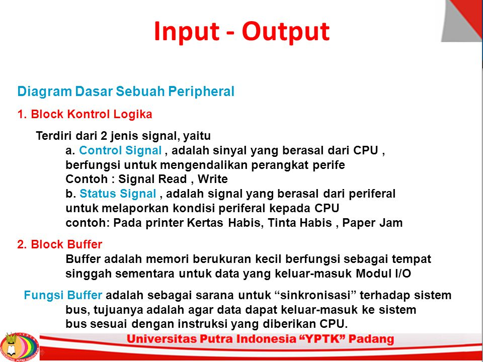 Input - Output Ada 3 konfigurasi DMA 1.