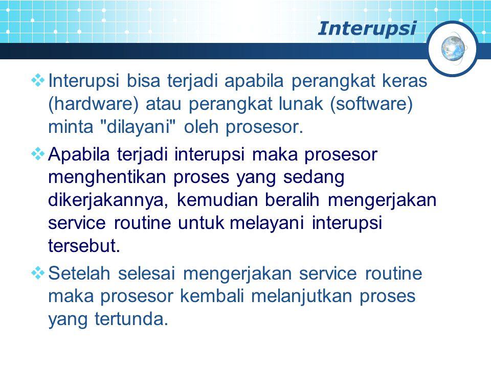 Interupsi  Interupsi bisa terjadi apabila perangkat keras (hardware) atau perangkat lunak (software) minta