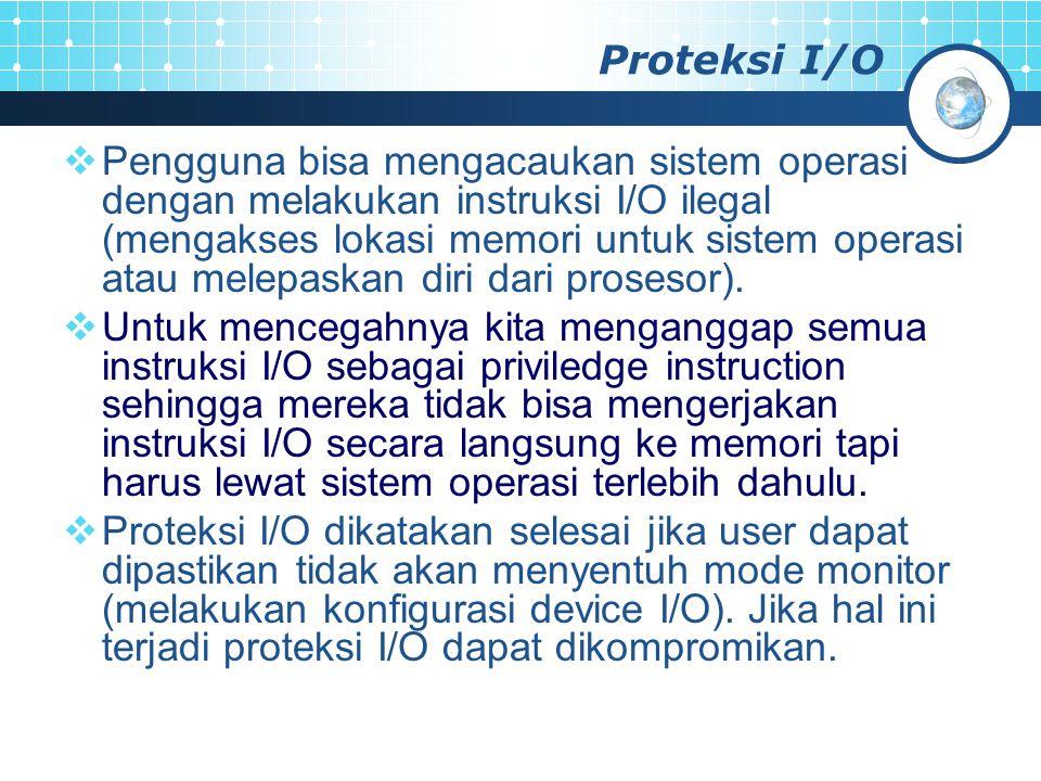 Proteksi I/O  Pengguna bisa mengacaukan sistem operasi dengan melakukan instruksi I/O ilegal (mengakses lokasi memori untuk sistem operasi atau melep