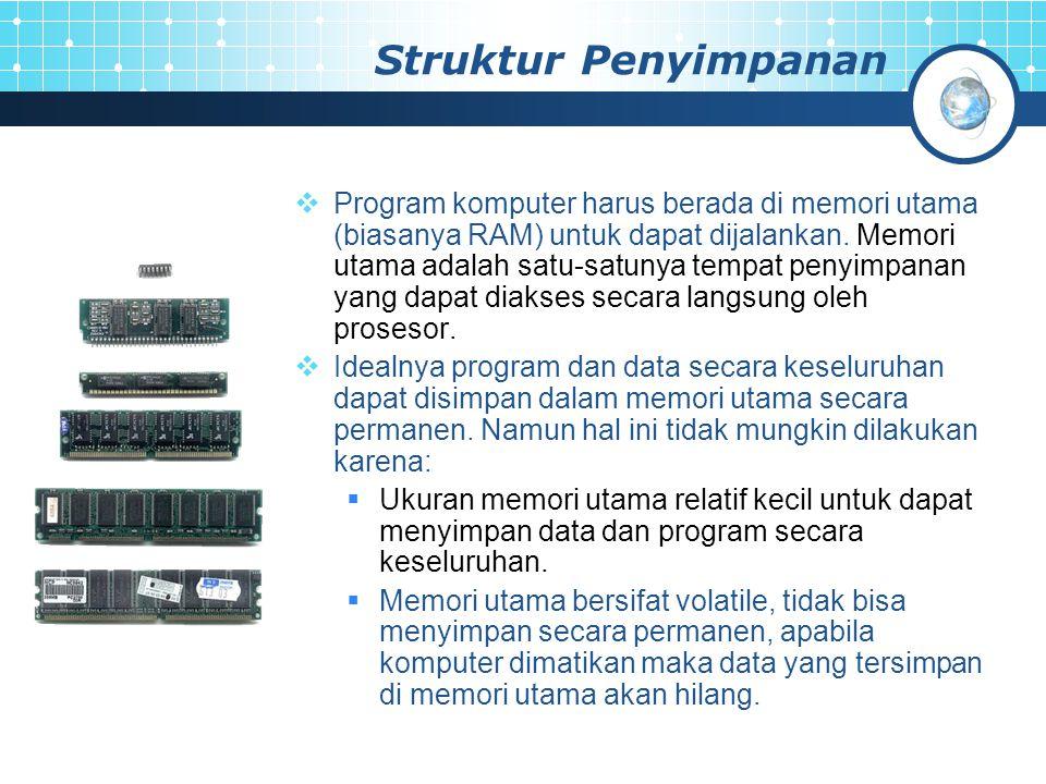 Struktur Penyimpanan  Program komputer harus berada di memori utama (biasanya RAM) untuk dapat dijalankan. Memori utama adalah satu-satunya tempat pe
