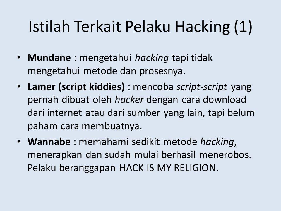 Istilah Terkait Pelaku Hacking (1) Mundane : mengetahui hacking tapi tidak mengetahui metode dan prosesnya. Lamer (script kiddies) : mencoba script-sc