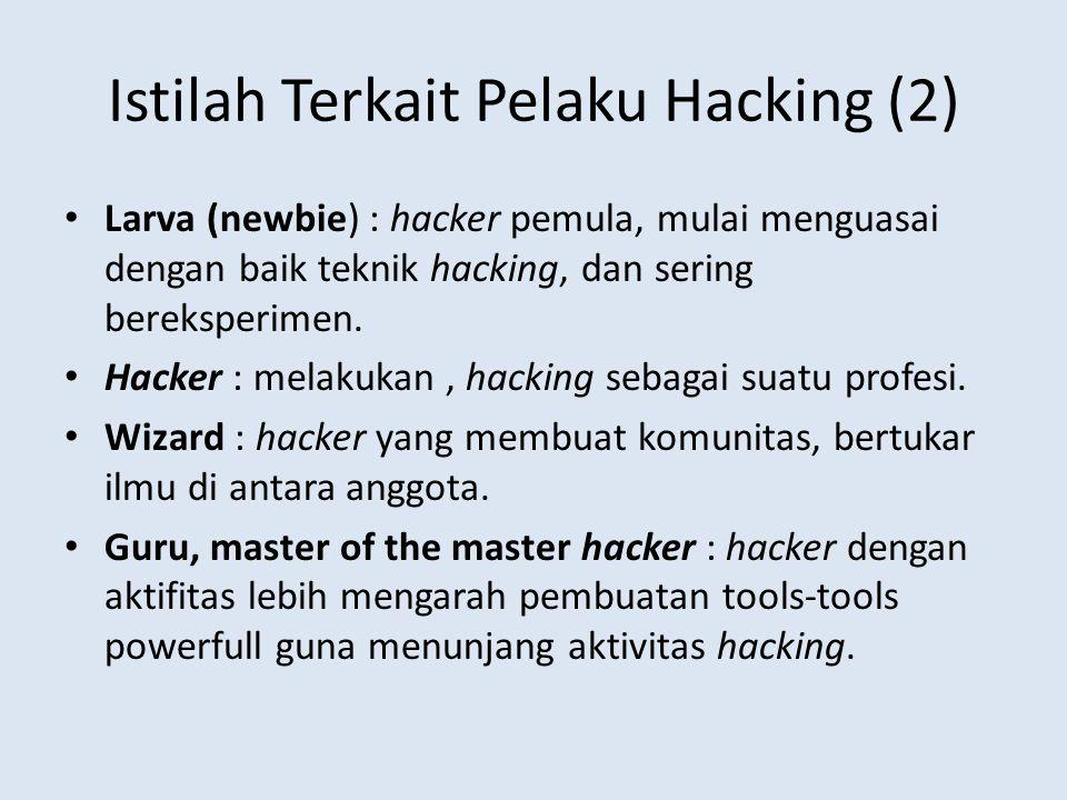 Istilah Terkait Pelaku Hacking (2) Larva (newbie) : hacker pemula, mulai menguasai dengan baik teknik hacking, dan sering bereksperimen. Hacker : mela