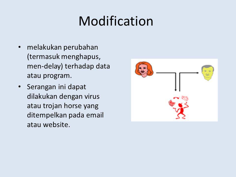 Modification melakukan perubahan (termasuk menghapus, men-delay) terhadap data atau program. Serangan ini dapat dilakukan dengan virus atau trojan hor