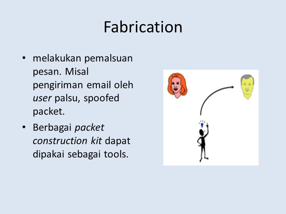 Fabrication melakukan pemalsuan pesan. Misal pengiriman email oleh user palsu, spoofed packet. Berbagai packet construction kit dapat dipakai sebagai