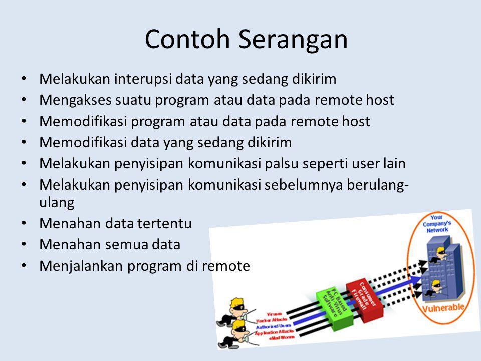 Contoh Serangan Melakukan interupsi data yang sedang dikirim Mengakses suatu program atau data pada remote host Memodifikasi program atau data pada re