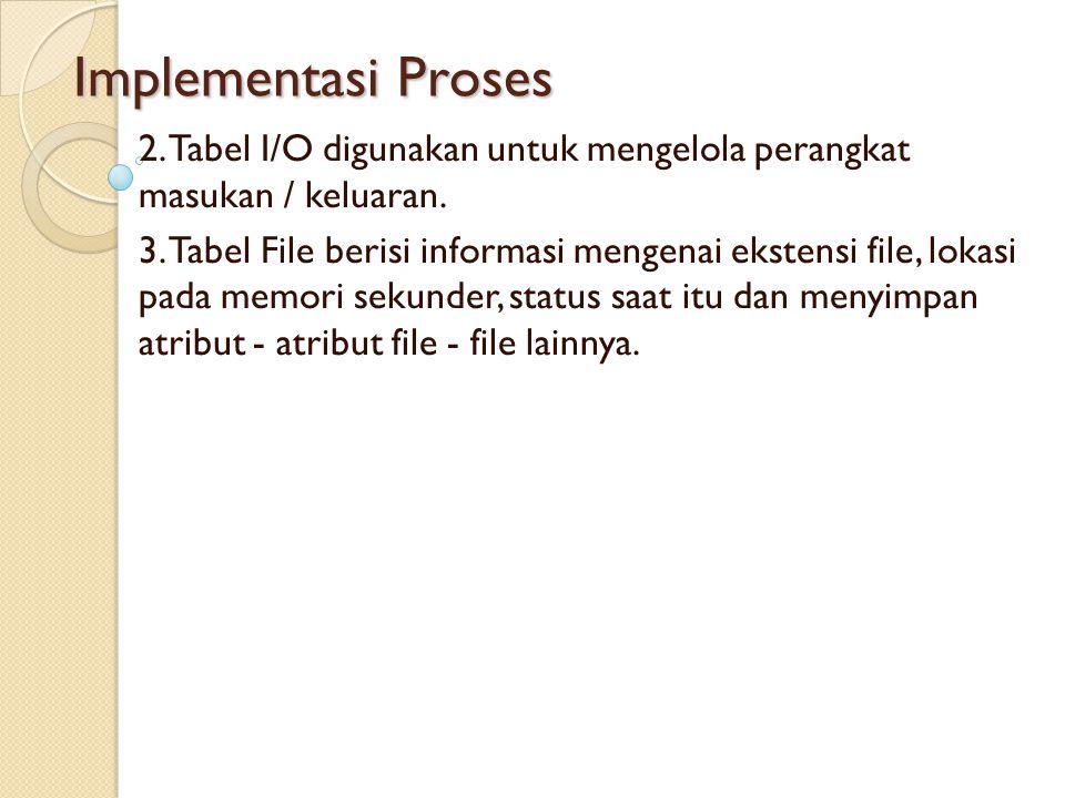 Implementasi Proses 2. Tabel I/O digunakan untuk mengelola perangkat masukan / keluaran. 3. Tabel File berisi informasi mengenai ekstensi file, lokasi