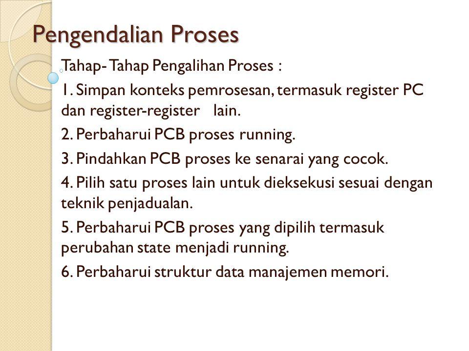 Pengendalian Proses Tahap- Tahap Pengalihan Proses : 1. Simpan konteks pemrosesan, termasuk register PC dan register-register lain. 2. Perbaharui PCB