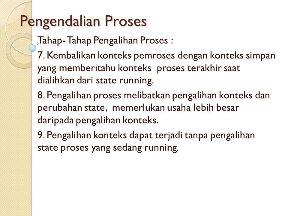 Pengendalian Proses Tahap- Tahap Pengalihan Proses : 7. Kembalikan konteks pemroses dengan konteks simpan yang memberitahu konteks proses terakhir saa
