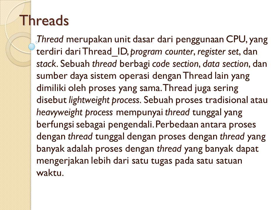 Threads Thread merupakan unit dasar dari penggunaan CPU, yang terdiri dari Thread_ID, program counter, register set, dan stack. Sebuah thread berbagi