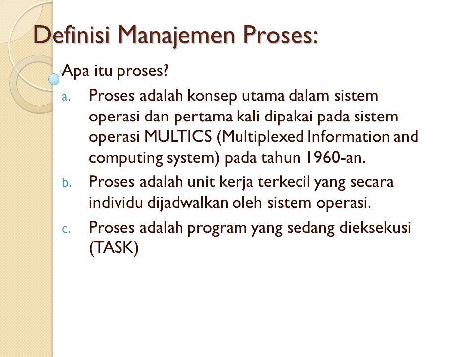 Definisi Manajemen Proses: Apa itu proses? a. Proses adalah konsep utama dalam sistem operasi dan pertama kali dipakai pada sistem operasi MULTICS (Mu
