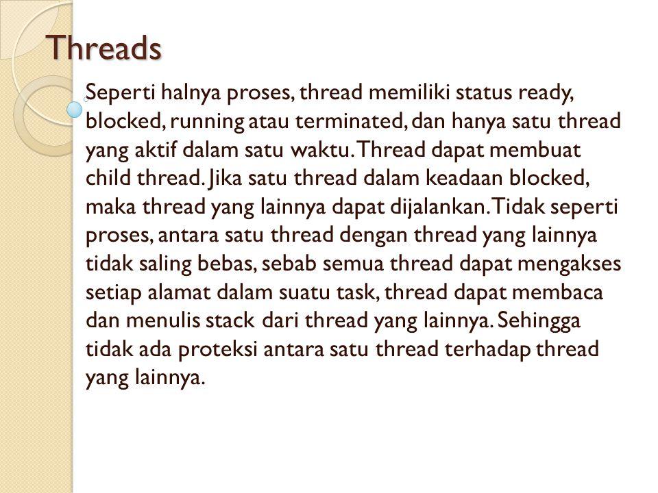 Threads Seperti halnya proses, thread memiliki status ready, blocked, running atau terminated, dan hanya satu thread yang aktif dalam satu waktu. Thre