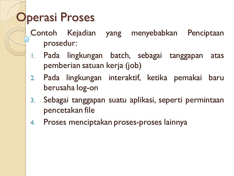 Operasi Proses Contoh Kejadian yang menyebabkan Penciptaan prosedur: 1. Pada lingkungan batch, sebagai tanggapan atas pemberian satuan kerja (job) 2.