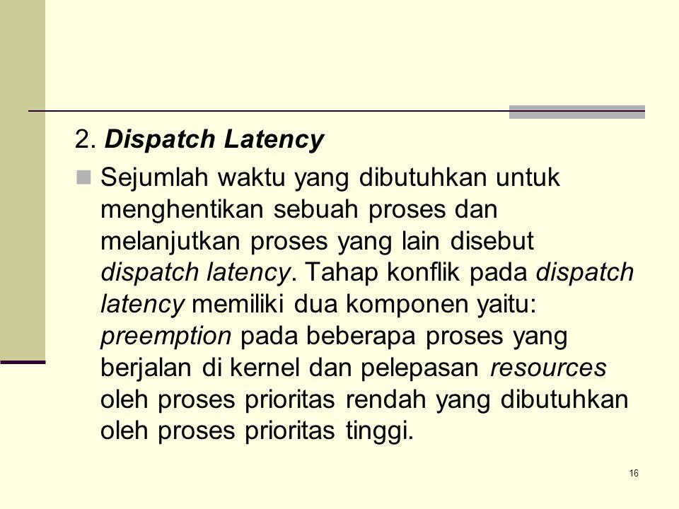 16 2. Dispatch Latency Sejumlah waktu yang dibutuhkan untuk menghentikan sebuah proses dan melanjutkan proses yang lain disebut dispatch latency. Taha