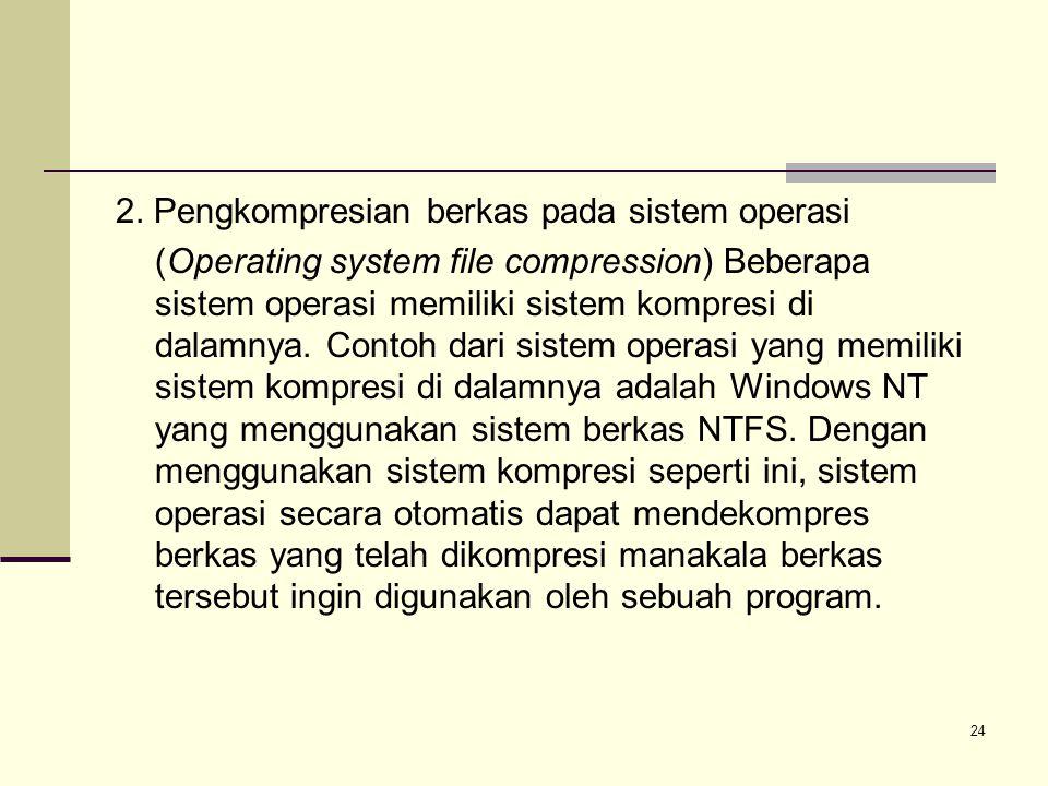24 2. Pengkompresian berkas pada sistem operasi (Operating system file compression) Beberapa sistem operasi memiliki sistem kompresi di dalamnya. Cont