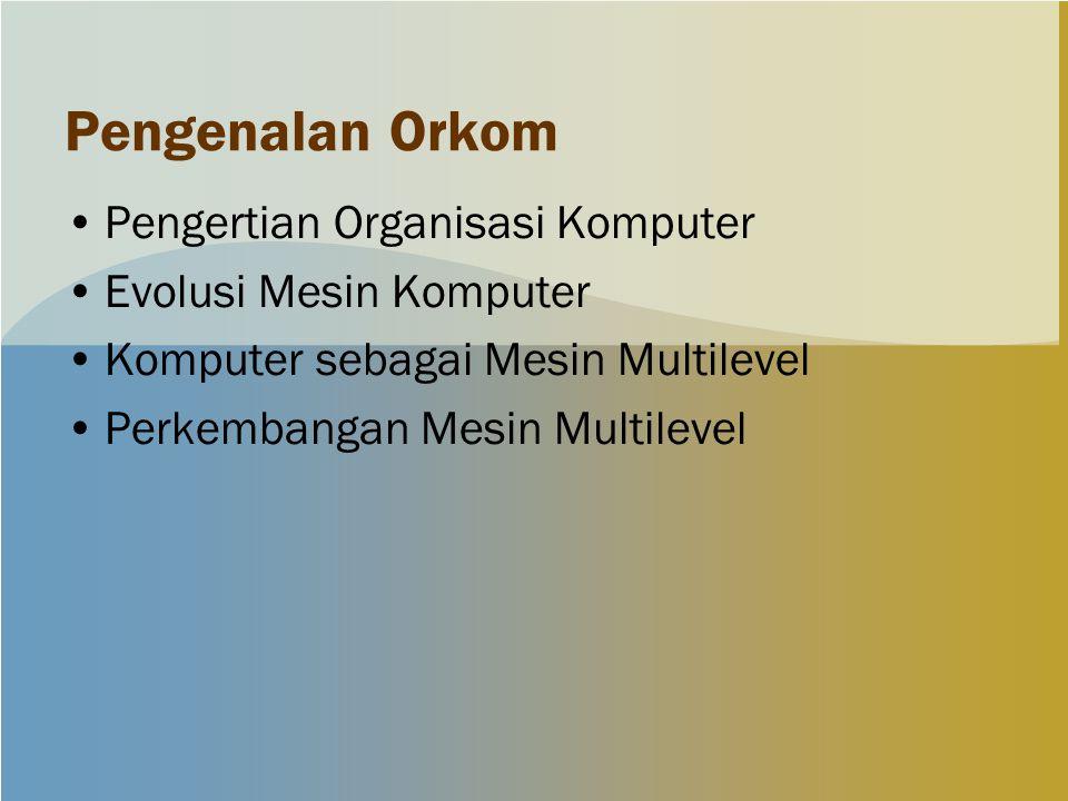 Pengenalan Orkom Pengertian Organisasi Komputer Evolusi Mesin Komputer Komputer sebagai Mesin Multilevel Perkembangan Mesin Multilevel