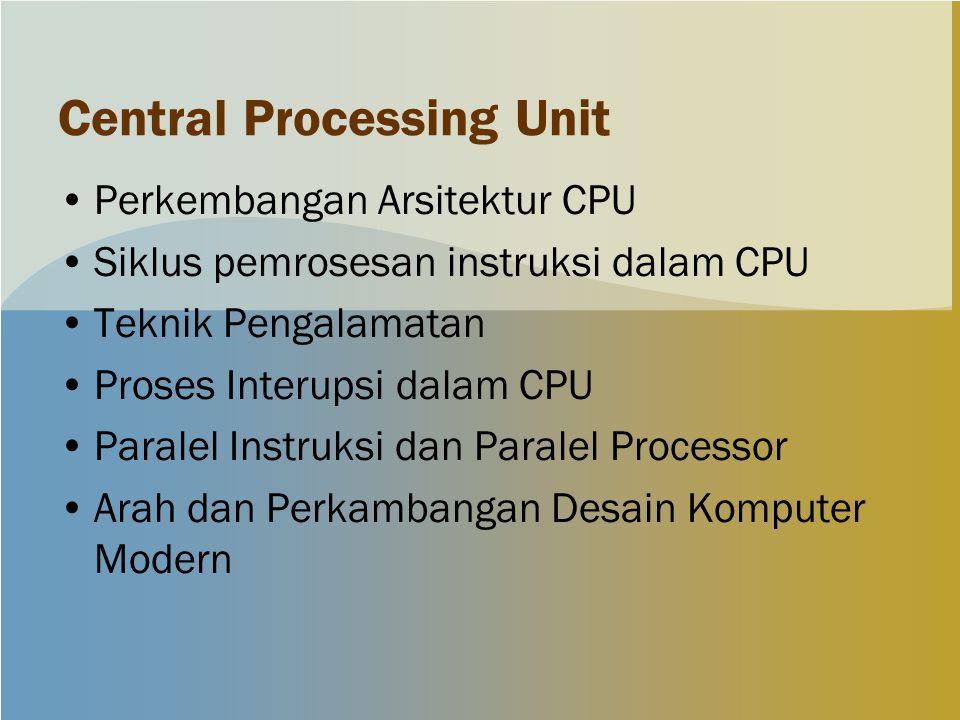 Central Processing Unit Perkembangan Arsitektur CPU Siklus pemrosesan instruksi dalam CPU Teknik Pengalamatan Proses Interupsi dalam CPU Paralel Instr