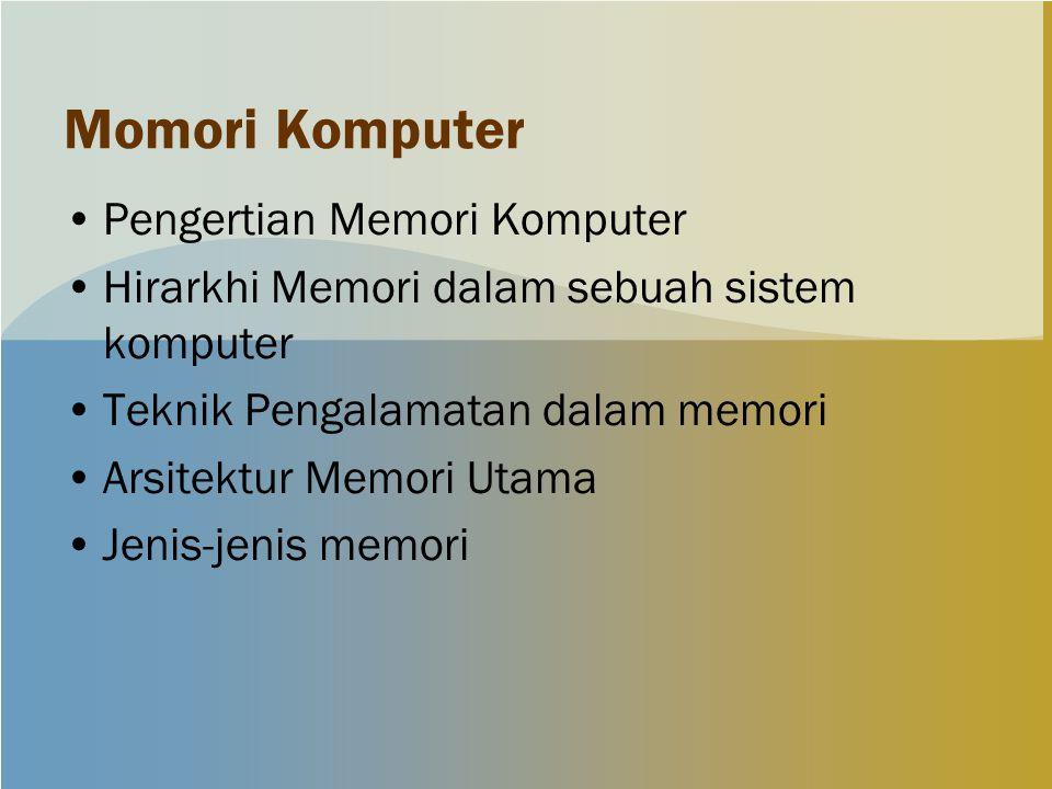 Momori Komputer Pengertian Memori Komputer Hirarkhi Memori dalam sebuah sistem komputer Teknik Pengalamatan dalam memori Arsitektur Memori Utama Jenis